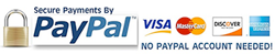 Secure card payments by PayPal. No PayPal account needed